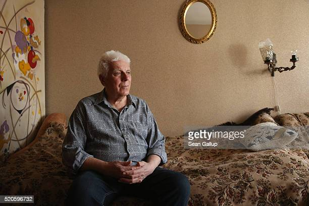 Anatoliy Lebedkin a former Chernobyl 'liquidator' sits in the apartment he shares with his wife on April 5 2016 in Gomel Belarus Lebedkin was a...