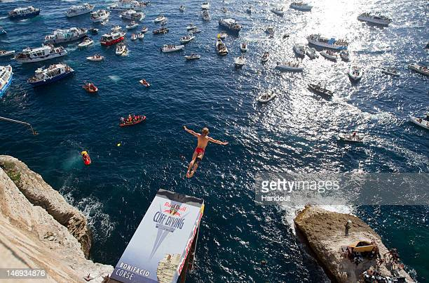 Anatoliy Shabotenko of the Ukraine dives from the 27 metre platform during the first of seven stops of the 2012 Red Bull Cliff Diving World Series on...