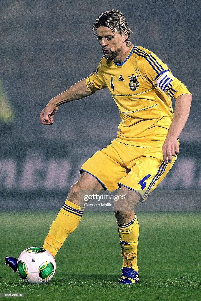 Anatoliy Timoshchuk of Ukraine in action during the FIFA 2014 World Cup Qualifier Group H match between San Marino and Ukraine at Serravalle Stadium on October 15, 2013 in Serravalle, Italy.