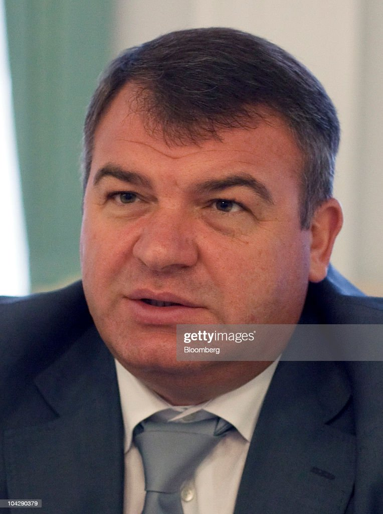 <a gi-track='captionPersonalityLinkClicked' href=/galleries/search?phrase=Anatoly+Serdyukov&family=editorial&specificpeople=4162784 ng-click='$event.stopPropagation()'>Anatoly Serdyukov</a>, Russia's defense minister, gestures during an interview at his ministry of defense offices in Moscow, Russia, on Monday, Sept. 20, 2010. Serdyukov said this month that his country will fulfill a 2007 contract to supply Yakhont cruise missiles to Syria. Photographer: Alexander Zemlianichenko Jr./Bloomberg via Getty Images