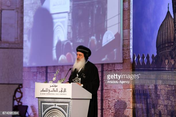Anba Paula Bishop of Tanta speaks during the 'AlAzhar World Peace' conference organized by AlAzhar in Cairo Egypt on April 27 2017