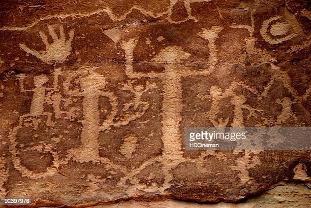 Maorischer Puebloans (Anasazi)-Petroglyphen-Höhlenmalereien