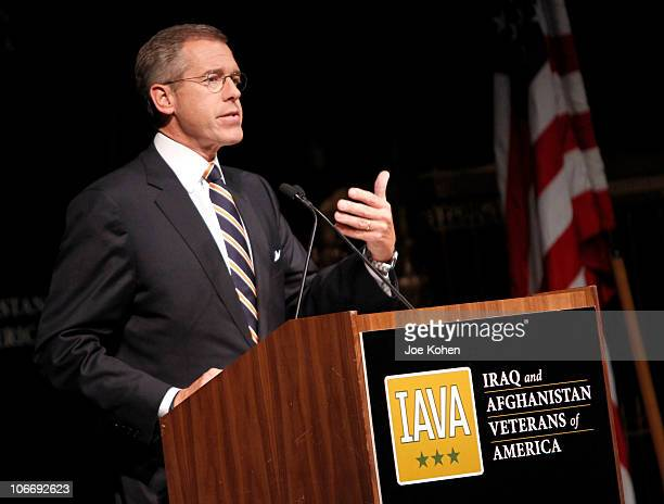 Anchor and Managing Editor NBC Nightly News Brian Williams speaks at the Iraq and Afghanistan Veterans of America Annual Heroes Gala at Gotham Hall...