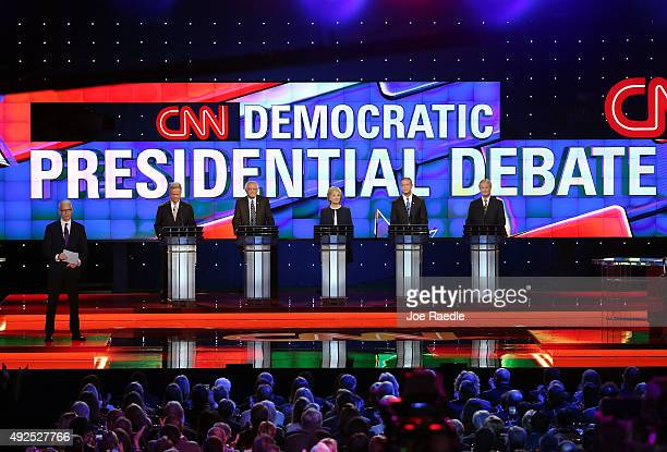 CNN anchor Anderson Cooper moderates a presidential debate sponsored by CNN and Facebook for Democratic presidential candidates Jim Webb US Sen...