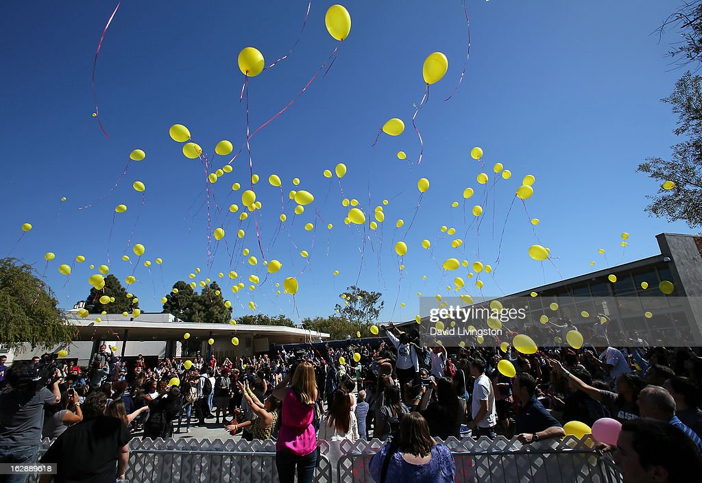 Anchor Bay Entertainment & The Weinstein Company's 'BULLY' documentary balloon release is seen at Culver City High School on February 28, 2013 in Culver City, California.