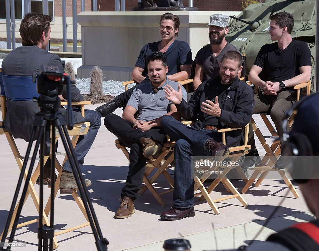 Anchor David Muir Actors Brad Pitt Shia LaBeouf Logan Leman Michael Pena with Writer/Director David Ayer attend 'Fury' Fort Benning Georgia Special...