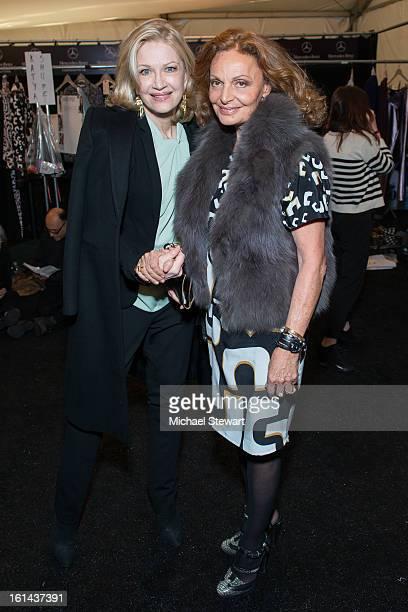 Anchor Diane Sawyer and designer Diane Von Furstenberg attend Diane Von Furstenberg during Fall 2013 MercedesBenz Fashion Week at The Theatre at...