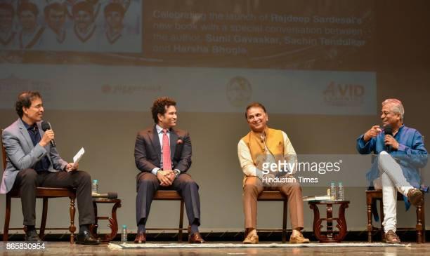 TV anchor Harsha Bhogle Veteran cricketers Sachin Tendulkar and Sunil Gavaskar during the launch of senior journalist Rajdeep Sardesai's book...