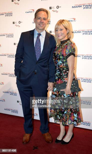CNN anchor Jake Tapper and his wife Jennifer Marie Brown arrive for the 20th Annual Mark Twain Prize for American Humor honoring former talk show...