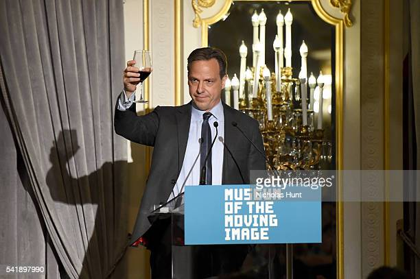 Anchor Jake Tapper speaks at the Museum of the Moving Image honoring Netflix Chief Content Officer Ted Sarandos and Seth Meyers at St Regis Hotel on...