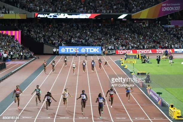 Anchor leg runners Netherland's Salome Kora Brazil's Rosangela Santos Jamaica's Sashalee Forbes Germany's Rebekka Haase Britain's Daryll Neita winner...