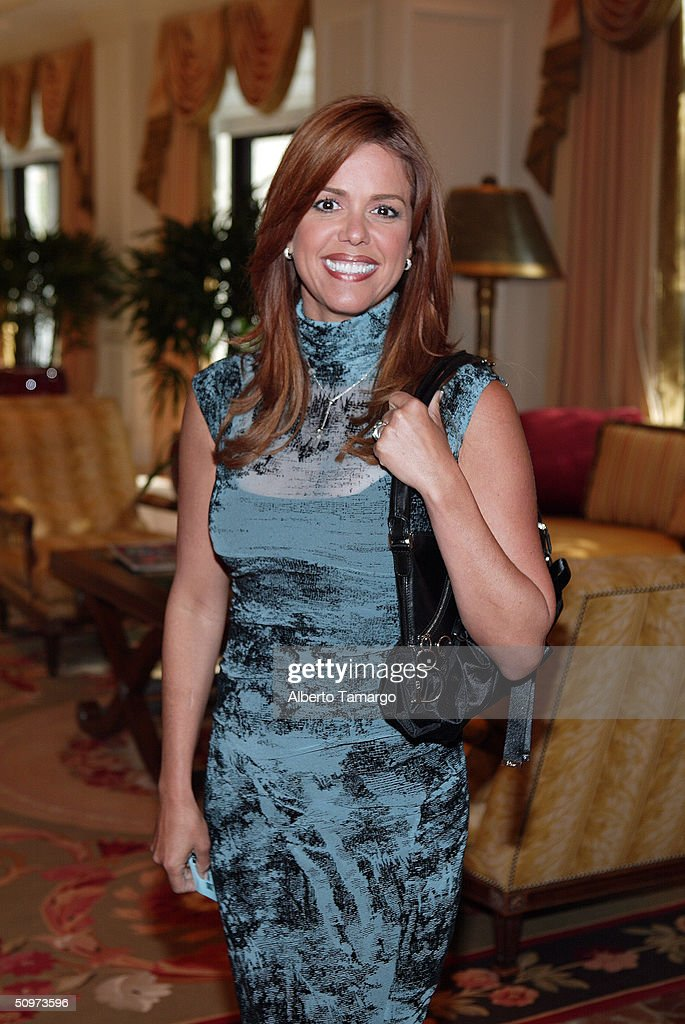 Anchor Maria Celeste Arraras poses at The Ritz Carlton Hotel in Coconut Grove where Telemundo network's new 2004-2005 program line up was revealed June 17, 2004 in Miami, Florida.