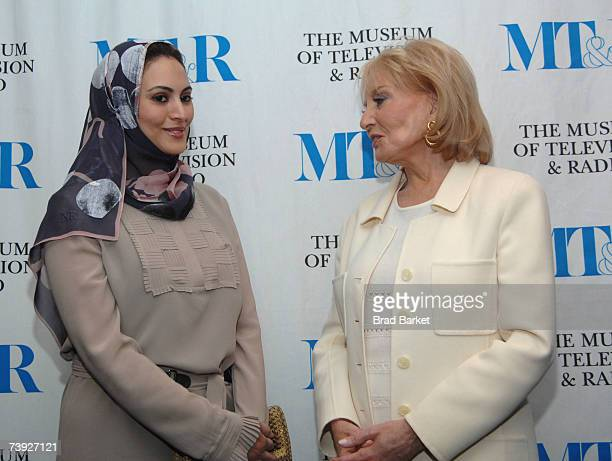 TV anchor Muna AbuSulayman and television journalist Barbara Walters attend a panel consisting of leading women part of the media in the Middle East...