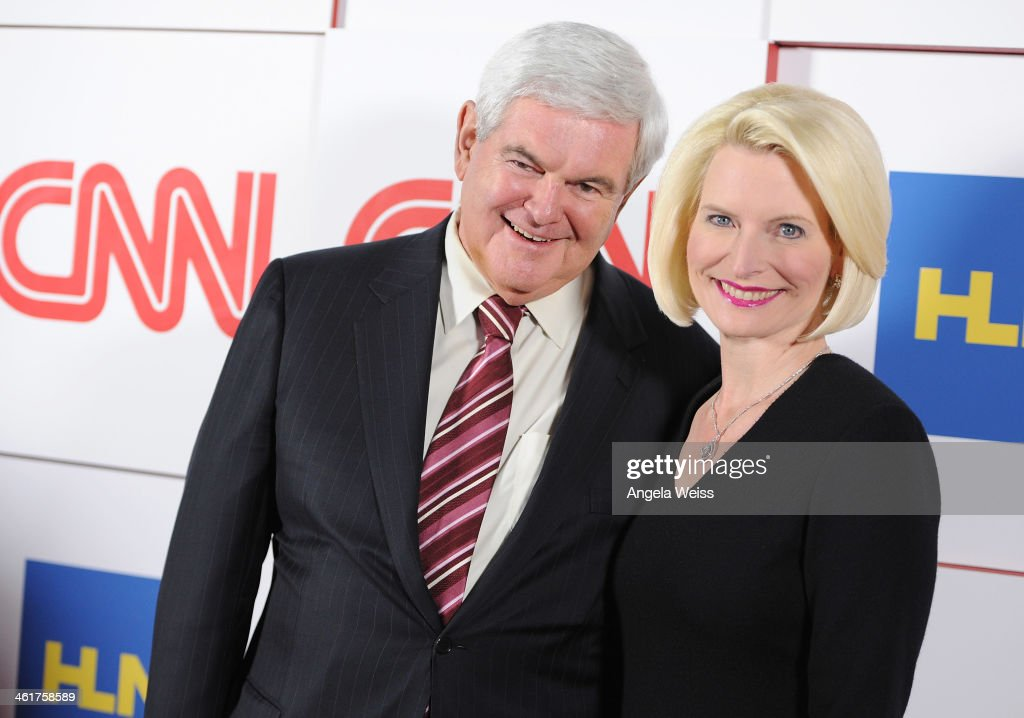 Anchor Newt Gingrich and Callista Gingrich attend the CNN Worldwide All-Star 2014 Winter TCA Party at Langham Hotel on January 10, 2014 in Pasadena, California.