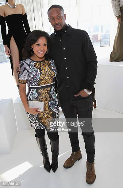 Anchor Sheinelle Jones and fashion designer LaQuan Smith pose during SheaMoisture at Laquan Smith F/W 2016 NYFW at Jack Studios on February 14 2016...