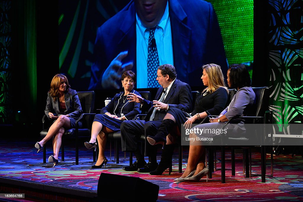 CNN Anchor Suzanne Malveaux, SEVP, Human Resources & Global Diversity of Discovery Communications Adria Alpert Romm, Executive Vice President of Comcast Corporation David L. Cohen, COO of Telemundo Jacqueline Hernandez, and EVP & Chief People Officer of Cox Communications Rhonda D. Taylor speak on stage at the 2013 WICT Leadership Conference at the New York Marriott on October 8, 2013 in New York City.