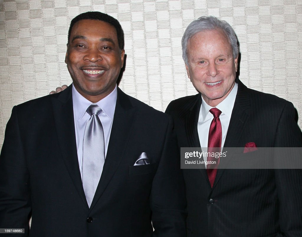 TV anchor Tony McEwing (L) and Lifetime Achievement Award honoree TV personality Steve Edwards attend the Radio & Television News Association of Southern California's 63rd Annual Golden Mike Awards at Universal City Hilton & Towers on January 19, 2013 in Universal City, California.