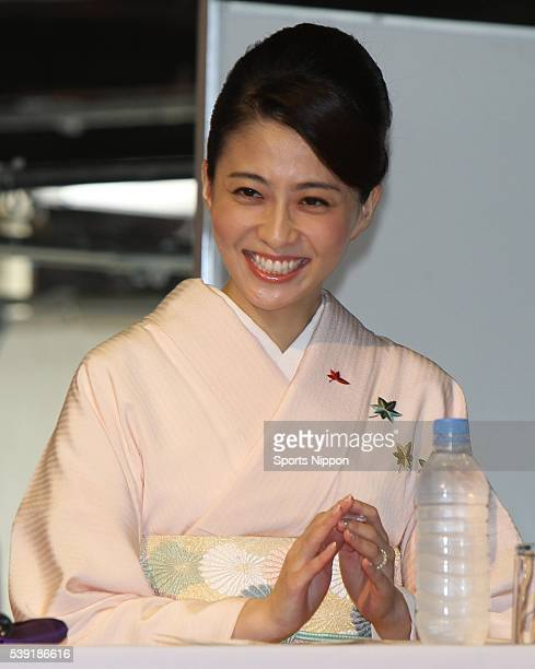 Anchor / TV personality Mao Kobayashi attends her talkshow on October 10 2010 in Tokyo Japan