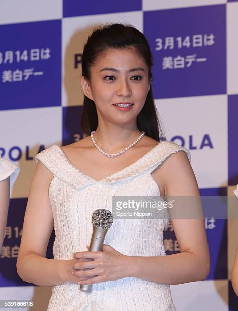 Anchor / TV personality Mao Kobayashi attends the POLA PR event on March 12 2010 in Tokyo Japan