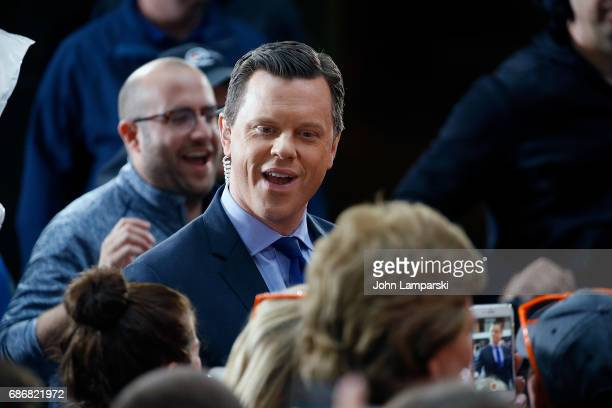 NBC anchor Willie Geist joins Gary LeVox Joe Don Rooney and Jay De Marcus of Rascal Flatts as they perform on NBC's 'Today' at Rockefeller Plaza on...