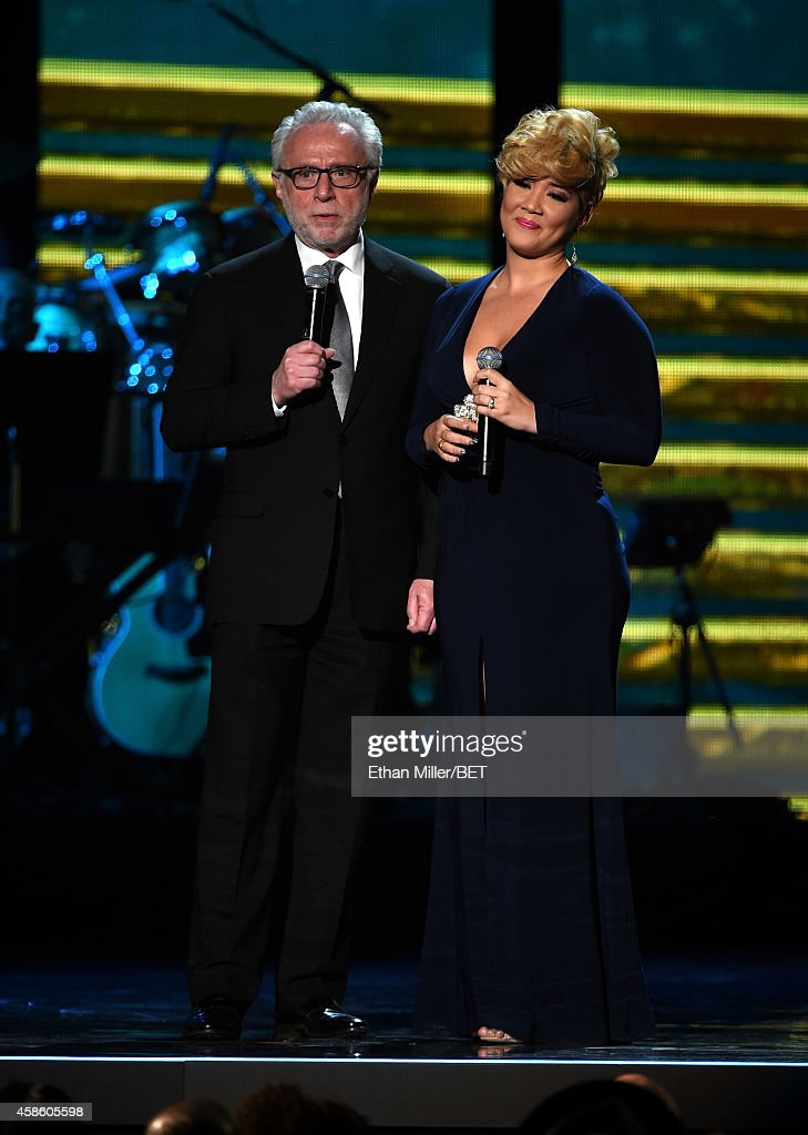 CNN anchor Wolf Blitzer and recording artist Tessanne Chin speak onstage during the 2014 Soul Train Music Awards at the Orleans Arena on November 7...