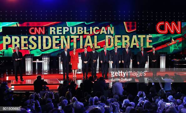 CNN anchor Wolf Blitzer looks on as Republican presidential candidates Ohio Gov John Kasich Carly Fiorina Sen Marco Rubio Ben Carson Donald Trump Sen...