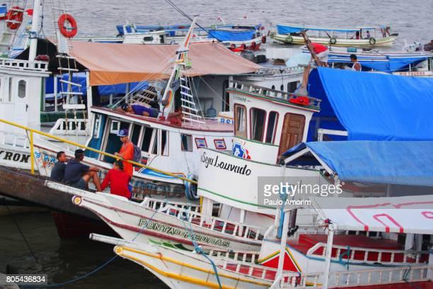 Anchored Boats at Amazon Region in Belém,Brazil