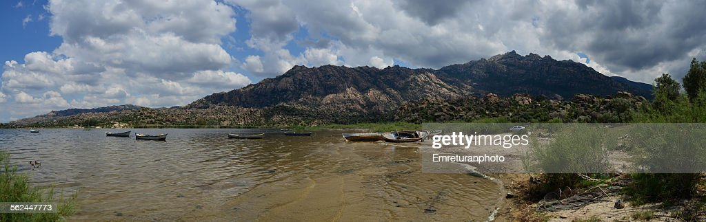 Anchored boats on the shore of lake Bafa
