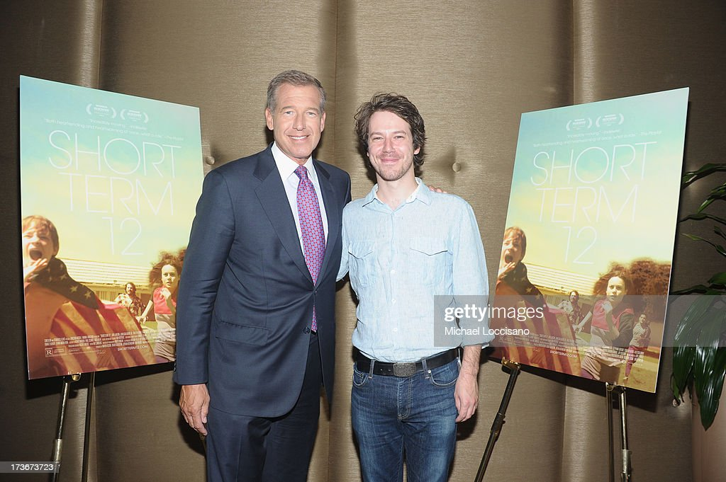 Anchorman Brian Williams (L) and actor John Gallagher Jr. attend the 'Short Term 12' New York special screening at Dolby 88 Theater on July 16, 2013 in New York City.