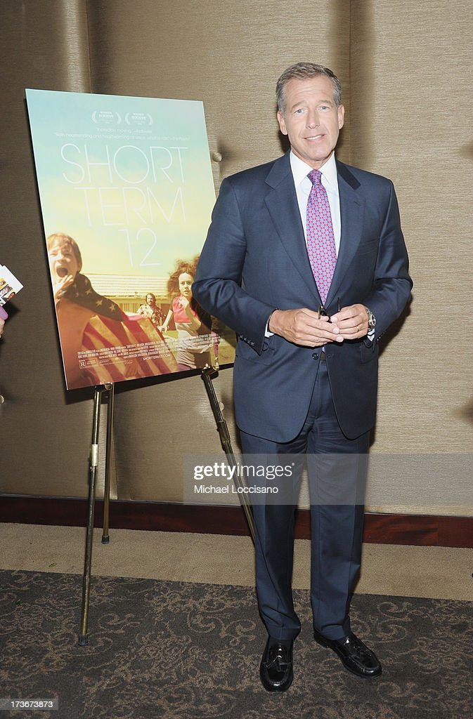 Anchorman Brian Williams attends the 'Short Term 12' New York special screening at Dolby 88 Theater on July 16, 2013 in New York City.