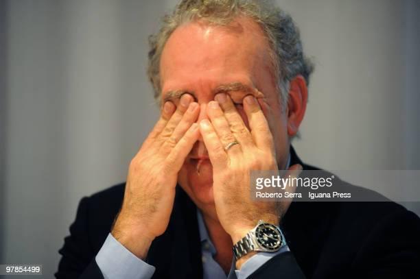 Anchorman Michele Santoro during press conference about tv broadcast 'RAI per una notte' at Palazzo Malvezzi on March 18 2010 in Bologna Italy