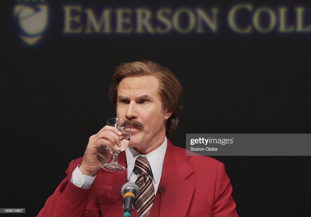Anchorman Ron Burgundy answered questions at a press conference and renaming ceremony at Emerson College's Semel Theater in Boston Wednesday Dec 4...