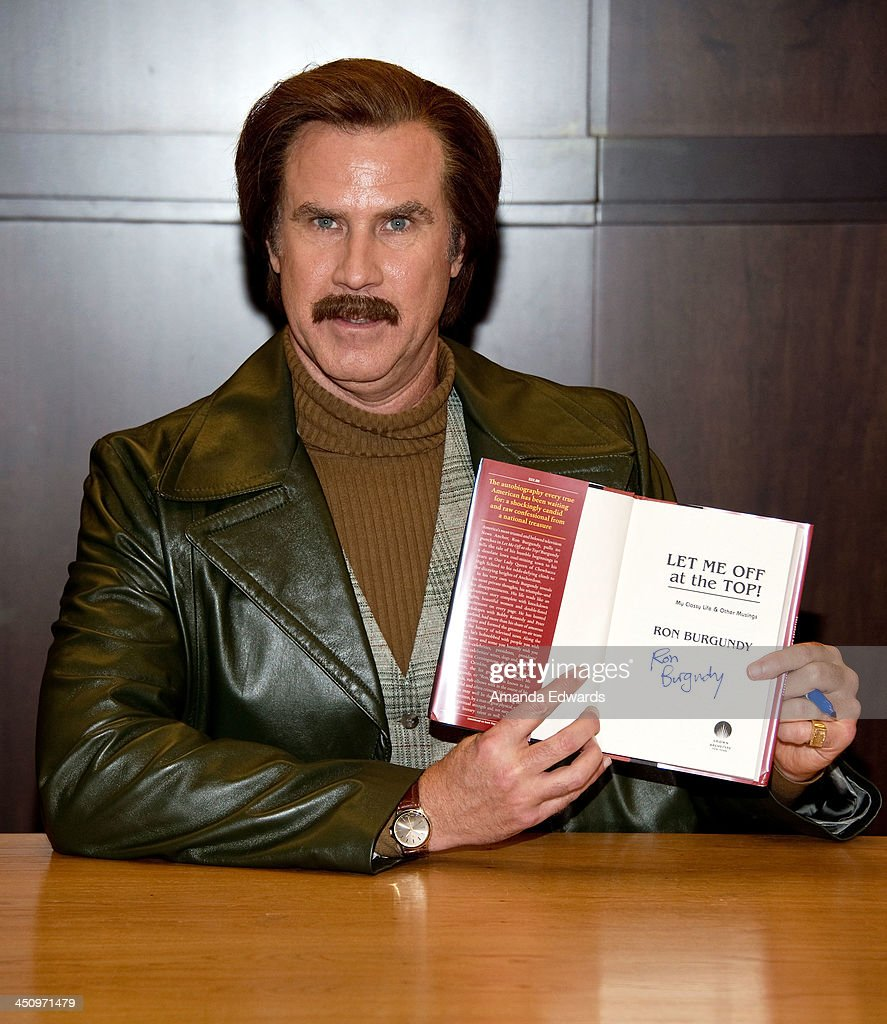 Anchorman Ron Burgundy signs copies of his new book 'Let Me Off At The Top My Classy Life And Other Musings' at Barnes Noble bookstore at The Grove...