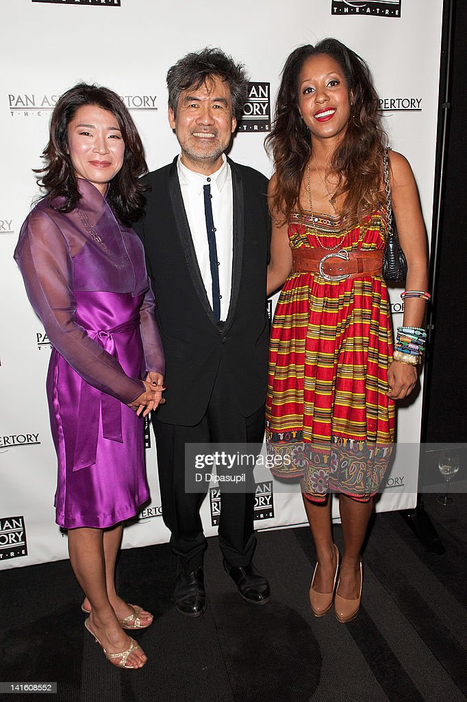 NY1 anchor/reporter Vivian Lee, playwright David Henry Hwang, and National Black Theatre CEO Sade Lythcott attend 'Legacy And Homecoming' the Pan Asian Repertory's 35th Anniversary Gala at The Edison Ballroom on March 19, 2012 in New York City.