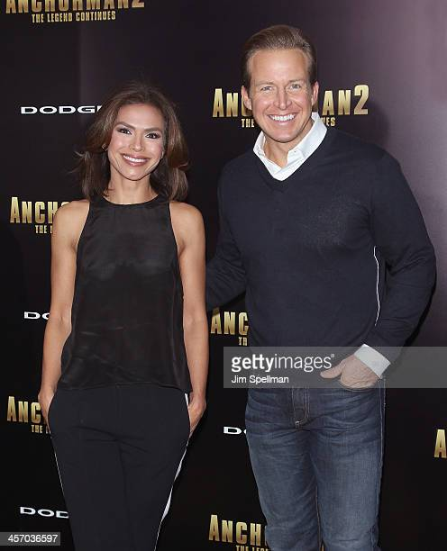 Anchors Kristine Johnson and Chris Wragge attend the 'Anchorman 2 The Legend Continues' US premiere at Beacon Theatre on December 15 2013 in New York...