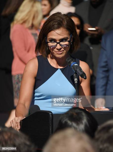 Anchorwoman Kristine Johnson addresses the audience during the Grammy Museum Experience Prudential Center RibbonCutting Ceremony at Prudential Center...