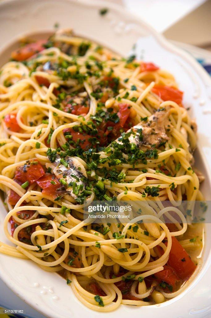 Anchovies and Tomato Spaghetti at La Lanterna Restaurant