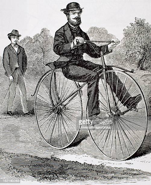 Ancien bike 19th century Engraving