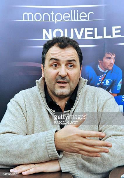 L'ancien président du club de rugby de Montpellier et vice président de la Ligue Nationale de Rugby Thierry Pérez s'adresse à la presse le 13 janvier...