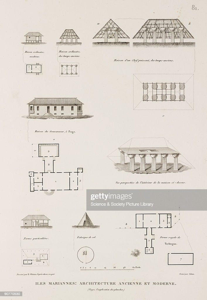 �Ancient and modern� Micronesian buildings including a salt factory the governor's house at Pago and a chief's house Illustration from �Voyage autour...