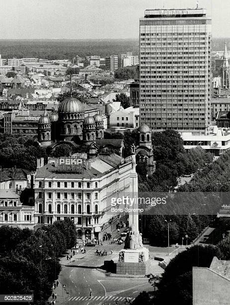 Ancient architecture Panoramic view of Riga shows the contrast between church domes and modern hotel Maps pinpoint location of Baltic states