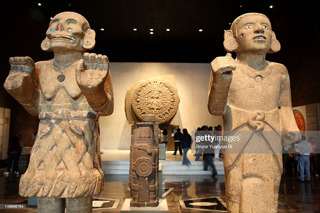 Ancient Aztec statues at National Museum of Anthropology. : Stock Photo