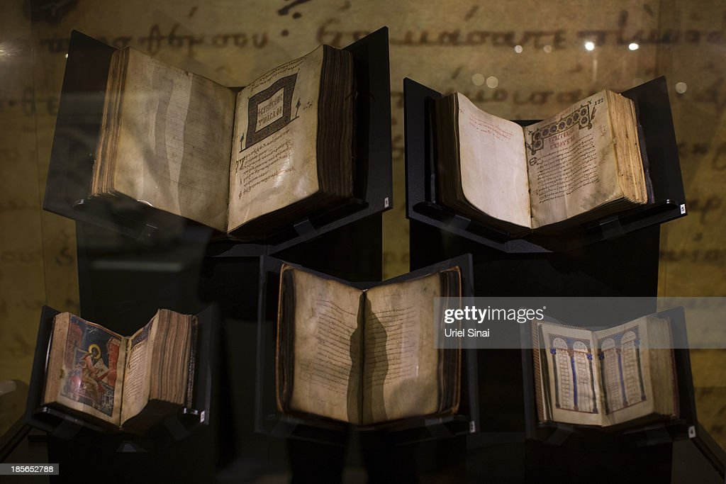 Ancient biblical manuscripts are displayed at the 'Book of Books' exhibition in the Bible Lands Museum on October 23, 2013 in Jerusalem, Israel. The exhibition contains more than 200 of the rarest biblical manuscripts, including original fragments from the Septuagint and the earliest New Testament Scriptures. This exhibition opened in Israel before heading to the Vatican and ends in Washington D.C, where it will be permanently displayed.