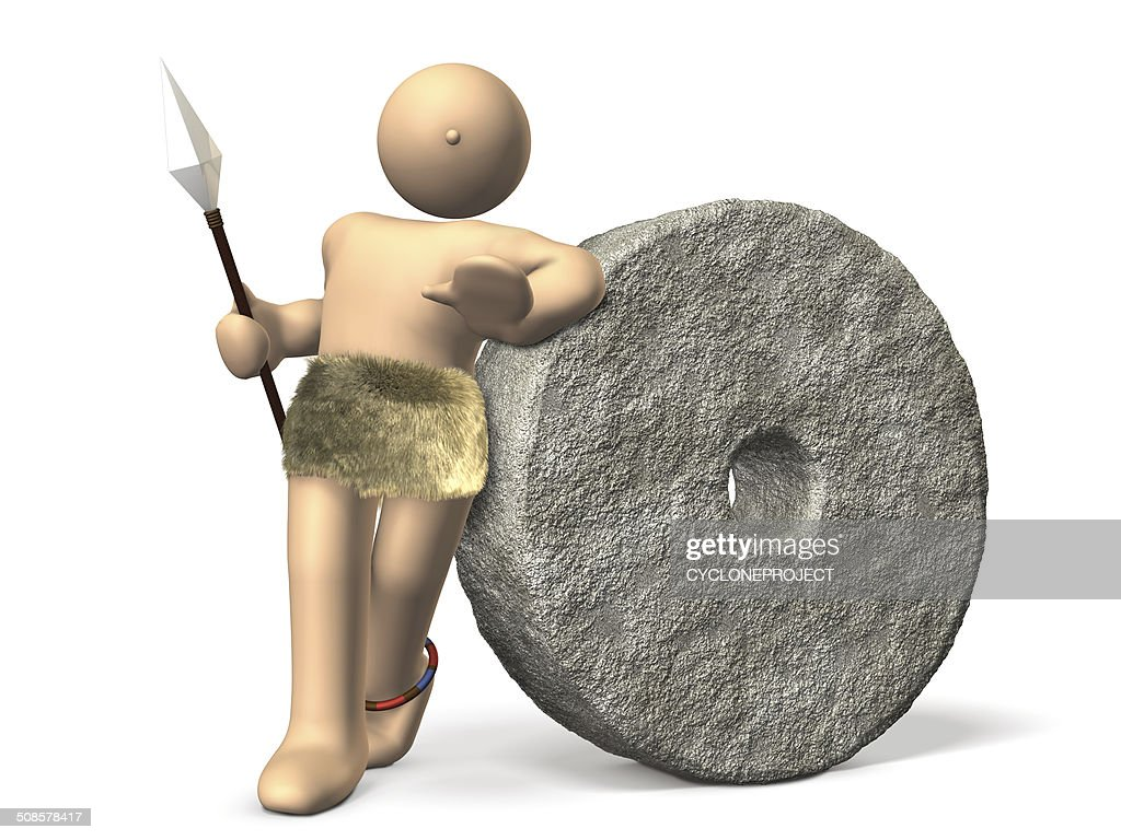 Ancient celebrities has been leaning on a large stone money. : Stockfoto