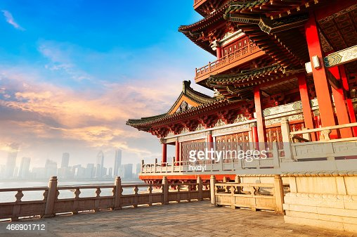 Ancient Chinese Architecture With City Skyline In Background Stock