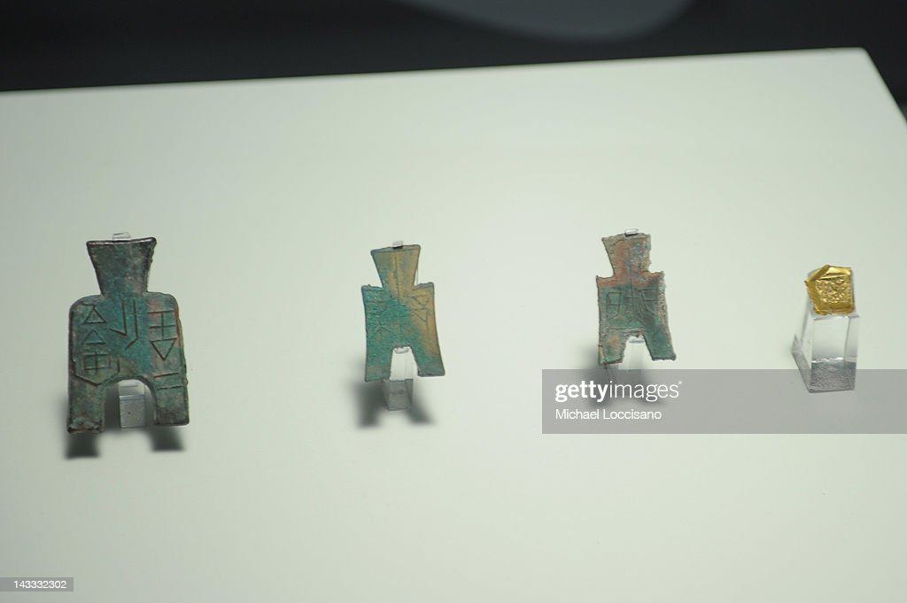 Ancient Chinese artifacts on display at the Terracotta Warriors exhibition at Discovery Times Square on April 24, 2012 in New York City. The exhibition is due to open on April 27, 2012