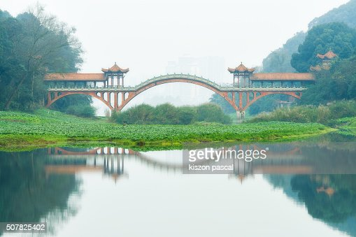 ancient chinese bridge in Leshan city ( Sichuan , China -