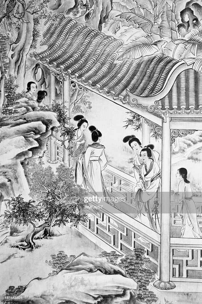 Ancient Chinese drawing : Bildbanksbilder