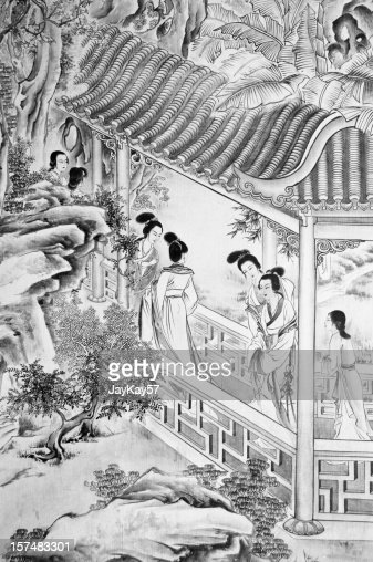 Ancient Chinese drawing : Stock Photo