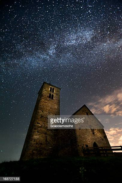 Ancient church and Milky Way